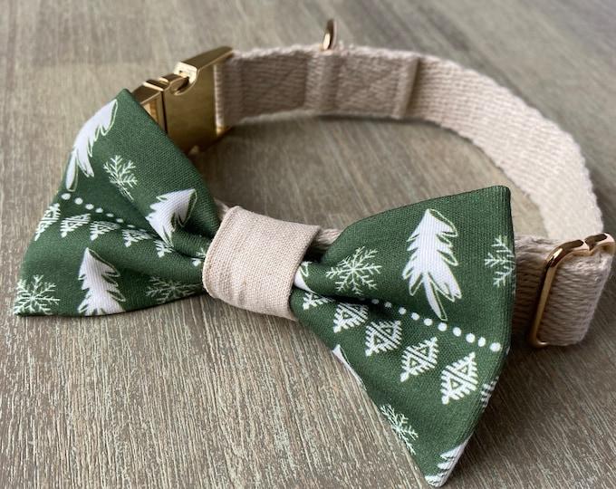 GOTS Organic Cotton Christmas Bow Tie & Collar Set - Green Scandi Christmas Trees *LIMITED *