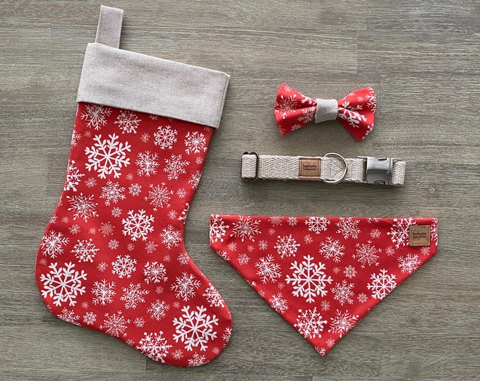 Deluxe Christmas Set - Hemp & GOTS Organic Cotton - Red Snowflakes *LIMITED *