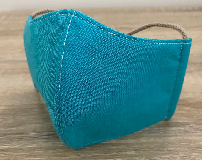 Turquoise GOTS Certified Organic Cotton Face Mask - Four Layer - Adjustable Ties & Shapable Nose
