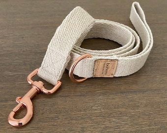 Super Soft Hemp Clip Lead with D Ring - Rose Gold