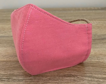 Bubblegum Pink GOTS Certified Organic Cotton Face Mask - Four Layers - Adjustable Ties & Shapable Nose