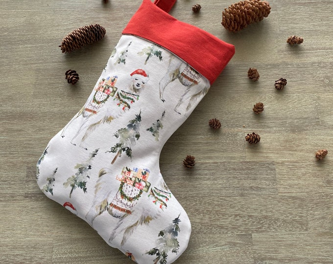 GOTS Organic Cotton Christmas Stocking - Festive Llama *LIMITED *