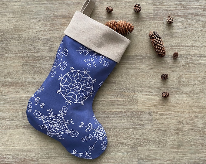 Hemp & GOTS Organic Cotton Christmas Stocking - Royal Blue Snowflakes *LIMITED *