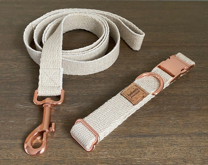 Super Soft Hemp Twill Dog Collar & Lead Set - Rose Gold