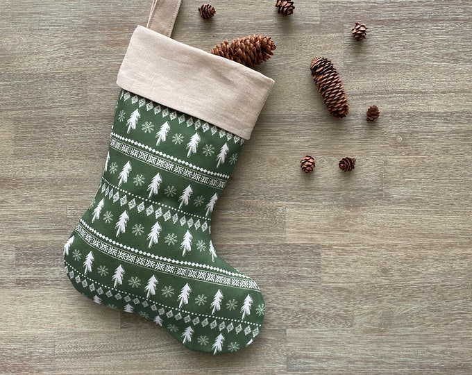 GOTS Organic Cotton Christmas Stocking - Green Scandi Christmas Trees *LIMITED *
