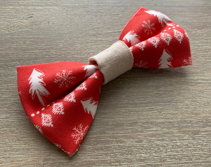 GOTS Organic Cotton Christmas Bow Tie - Red Scandi Christmas Trees *LIMITED *