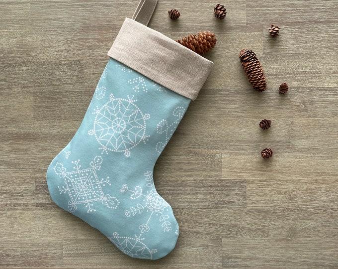 Hemp & GOTS Organic Cotton Christmas Stocking - Ice Blue Snowflakes *LIMITED *