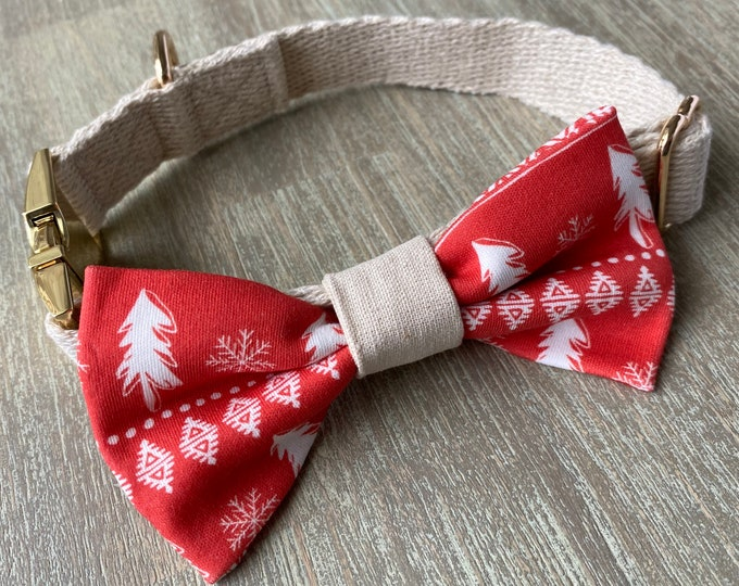 GOTS Organic Cotton Christmas Bow Tie & Collar Set - Red Scandi Christmas Trees *LIMITED *