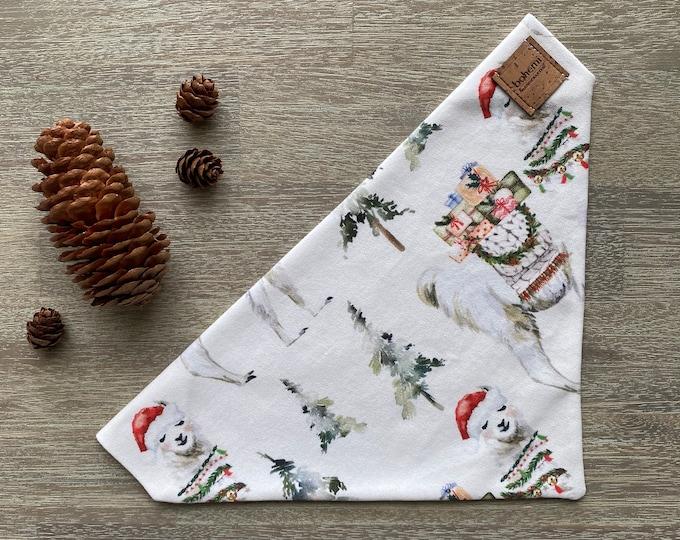 GOTS Organic Cotton Christmas Bandana - Festive Llama *LIMITED *