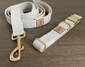 Super Soft Hemp Dog Collar & Lead Set - Gold