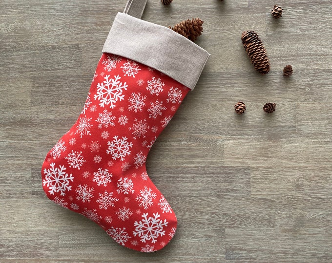 Hemp & GOTS Organic Cotton Christmas Stocking - Red Snowflakes *LIMITED *