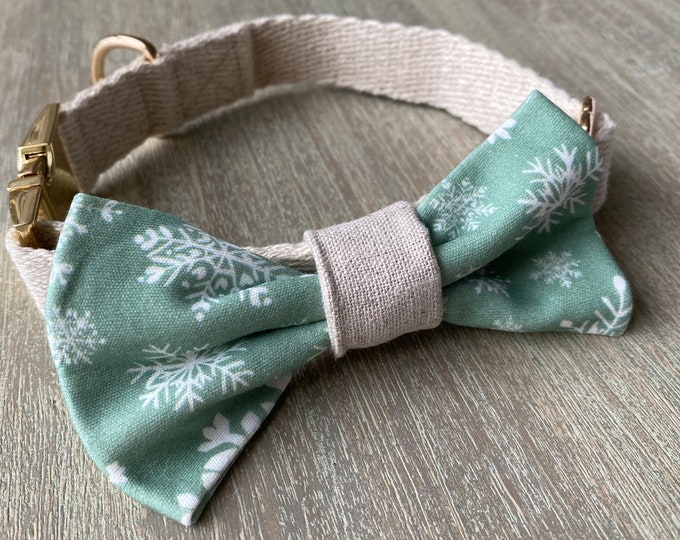 GOTS Organic Cotton Christmas Bow Tie & Collar Set - Mint Snowflakes *LIMITED *