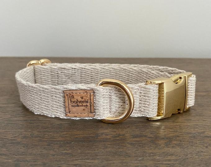Super Soft Hemp Twill Dog Collar - Gold