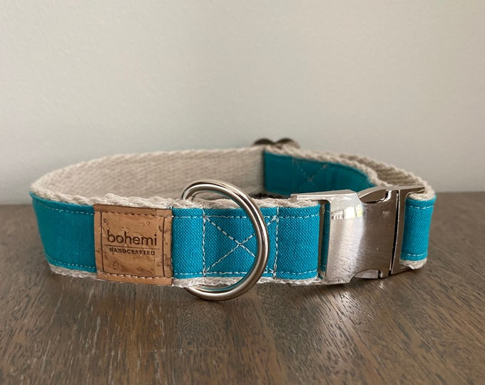 Hemp / GOTS Certified Organic Cotton Dog Collar - Turquoise