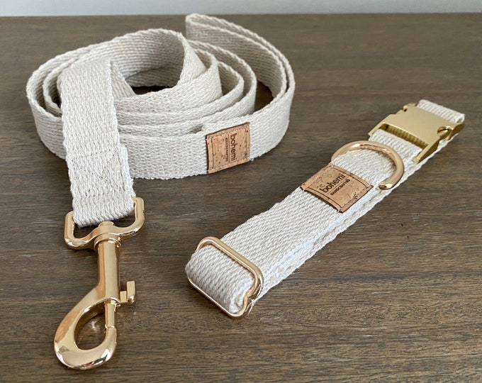 Super Soft Hemp Twill Dog Collar & Lead Set - Gold