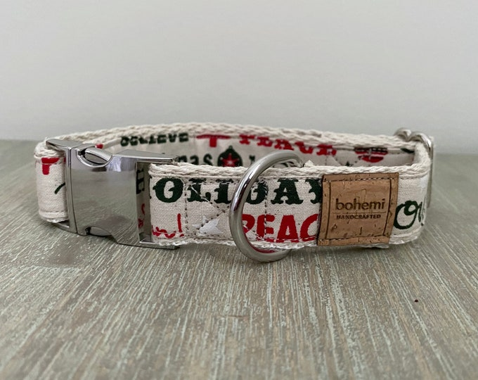 100% Cotton Christmas Collar - Festive Natural *LIMITED *