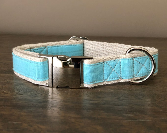 Hemp / GOTS Certified Organic Cotton Dog Collar - Sky Blue