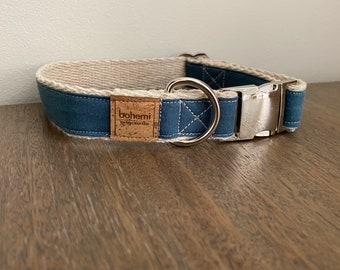 Hemp / GOTS Certified Organic Cotton Dog Collar - Denim