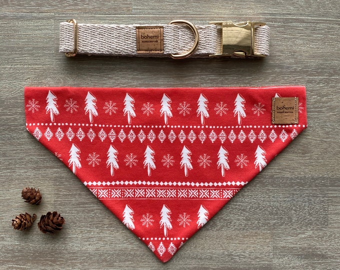 GOTS Organic Cotton Christmas Bandana & Collar Set - Red Scandi Christmas Trees *LIMITED *