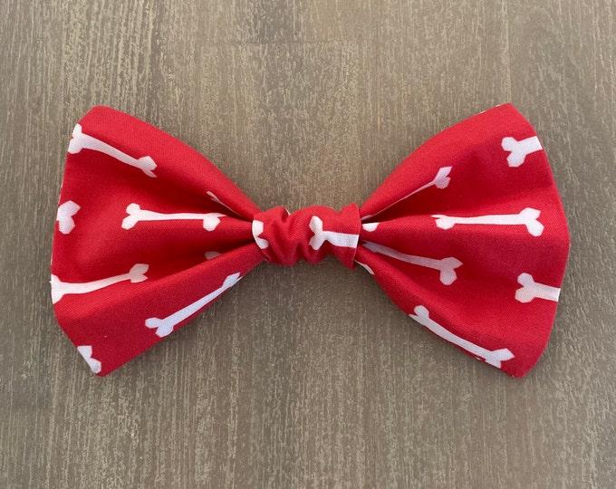 Oeko-Tex® Cotton Christmas Collar Bow Tie - Red Dog Bones