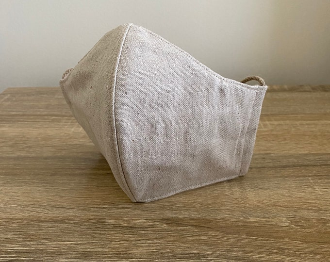 Sand - Hemp / Organic Cotton Face Mask - Four Layer - Adjustable Ties - Shapable Nose