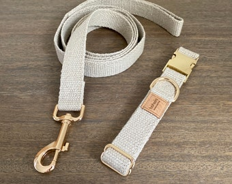 Organic Hemp Dog Collar & Lead Set - Gold