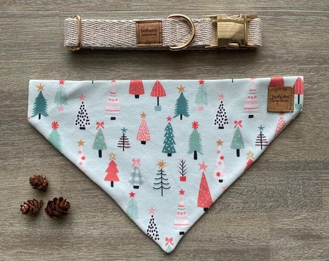GOTS Organic Cotton Christmas Bandana & Collar Set - Oh Christmas Tree *LIMITED *