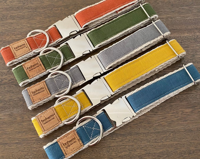 Hemp / GOTS Certified Organic Cotton Dog Collar - Raw Earth Range