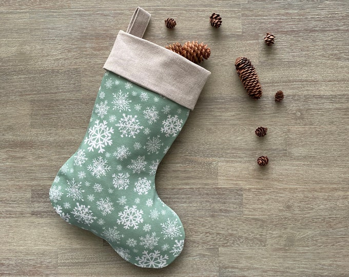 Hemp & GOTS Organic Cotton Christmas Stocking - Mint Snowflakes *LIMITED *