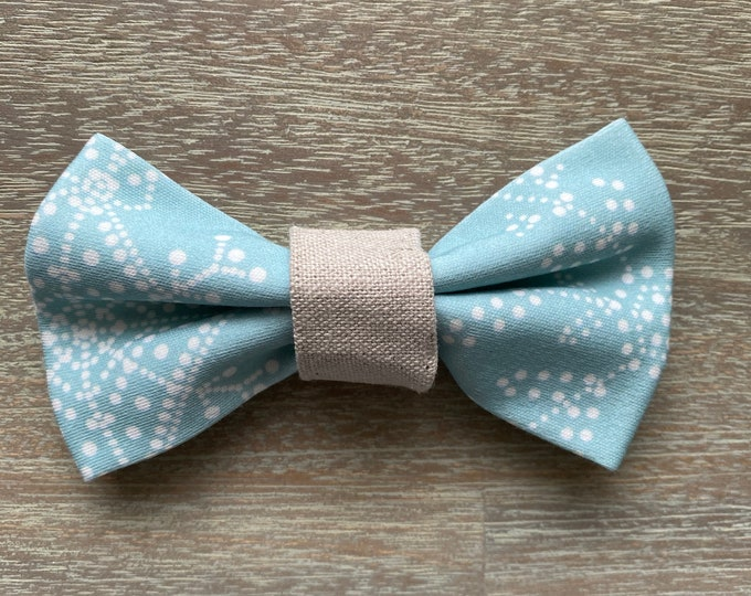 GOTS Organic Cotton Christmas Bow Tie - Ice Blue Snowflakes *LIMITED *
