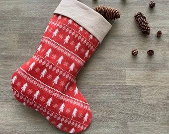 GOTS Organic Cotton Christmas Stocking - Red Scandi Christmas Trees *LIMITED *