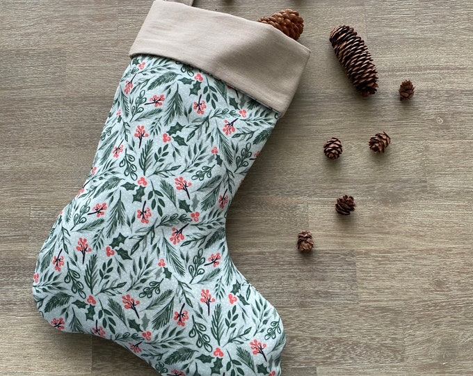 GOTS Organic Cotton Christmas Stocking - Mint Holly *LIMITED *