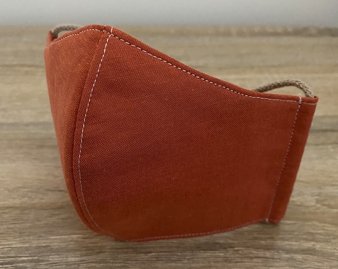 Burnt Orange 100% Organic Cotton Face Mask - Double Layer - Adjustable Ties & Shapable Nose