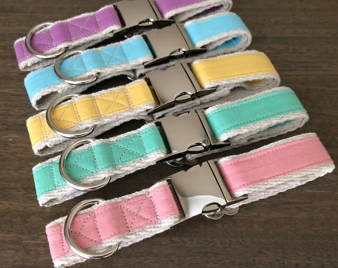 Hemp \ GOTS Certified Organic Cotton Dog Collar - Purely Pastel Range