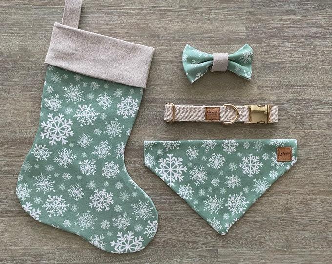 Deluxe Christmas Set - Hemp & GOTS Organic Cotton - Mint Snowflakes *LIMITED *