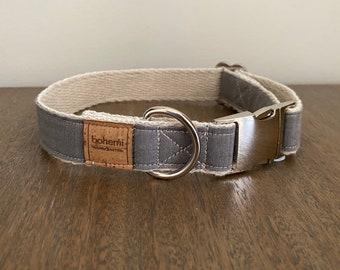 Hemp / Organic Cotton Dog Collar - Grey