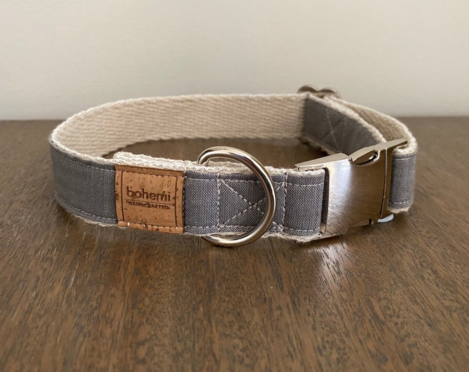 Hemp / Organic Cotton Dog Collar - Grey