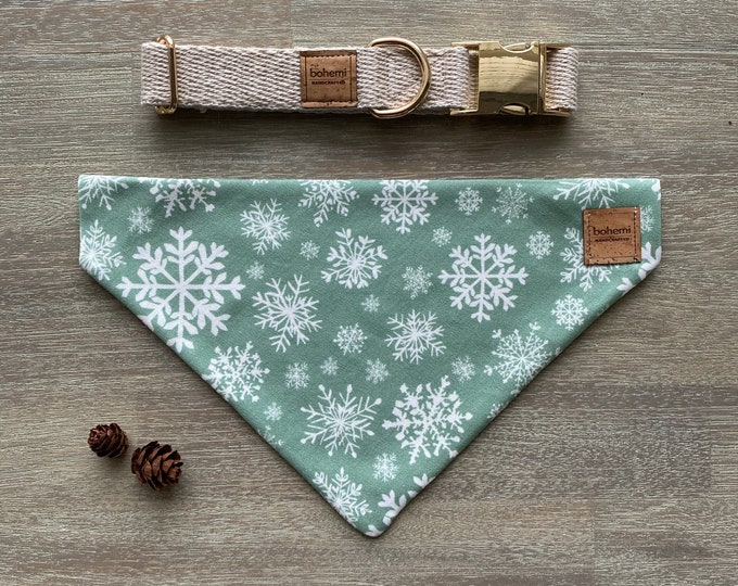 GOTS Organic Cotton Christmas Bandana & Collar Set - Mint Snowflakes *LIMITED *