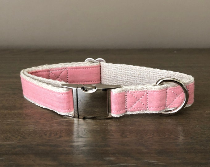 Hemp / GOTS Certified Organic Cotton Dog Collar - Pale Pink