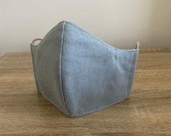 Sage - Hemp / Organic Cotton Face Mask - Four Layer - Adjustable Ties - Shapable Nose
