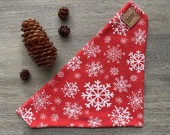 GOTS Organic Cotton Christmas Bandana - Red Snowflakes *LIMITED *