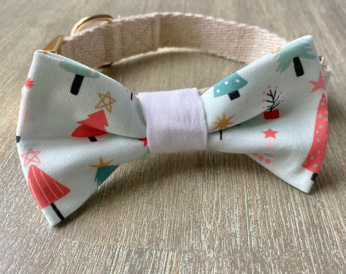 GOTS Organic Cotton Christmas Bow Tie & Collar Set - Oh Christmas Tree *LIMITED *