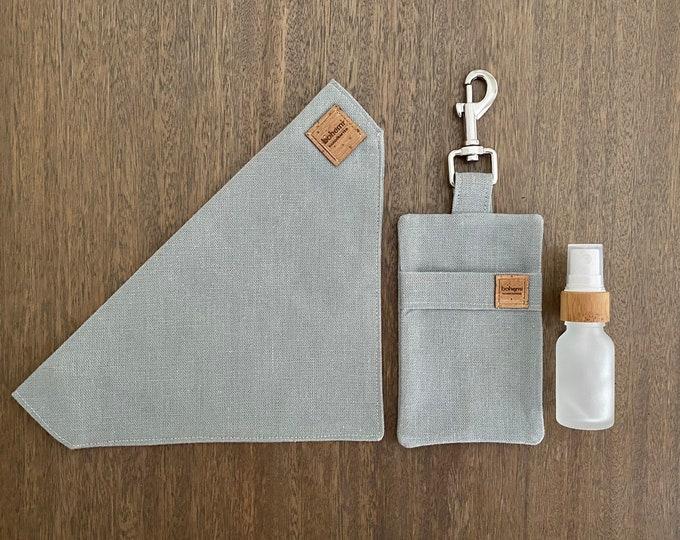 Featured listing image: Hemp Poo Bag Mate + Bandana + 15ml Glass Bamboo Bottle - Sage Grey