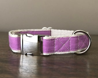 Hemp / GOTS Certified Organic Cotton Dog Collar - Lavendar