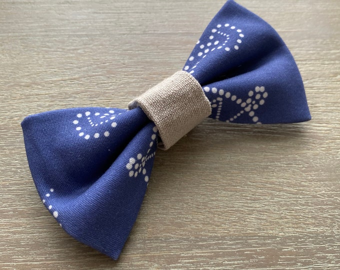GOTS Organic Cotton Christmas Bow Tie - Royal Blue Snowflakes *LIMITED *