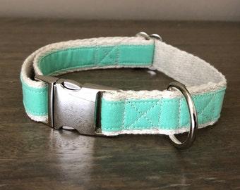 Hemp / GOTS Certified Organic Cotton Dog Collar - Mint Green