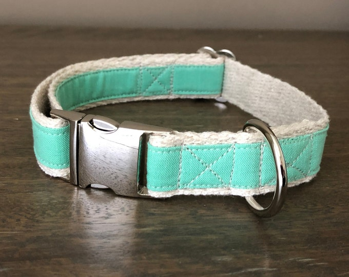 Hemp / GOTS Certified Organic Cotton Dog Collar - Mint Green