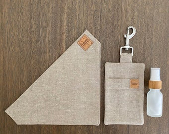 Hemp Poo Bag Mate + Bandana + 15ml Glass Bamboo Bottle - Sand