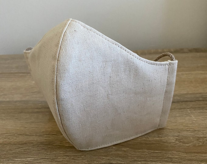 Oatmeal - Hemp / Organic Cotton Face Mask - Four Layer - Adjustable Ties - Shapable Nose
