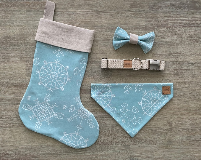 Deluxe Christmas Set - Hemp & GOTS Organic Cotton - Ice Blue Snowflakes *LIMITED *